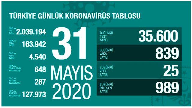 Son Dakika: Türkiye'de 31 Mayıs günü koronavirüs nedeniyle 25 kişi hayatını kaybetti, 839 yeni vaka tespit edildi