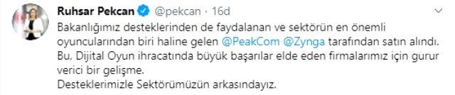Bakan Albayrak: Peak'ın satışı Türk ekonomi tarihinin en büyük şirket satışlarından biri oldu