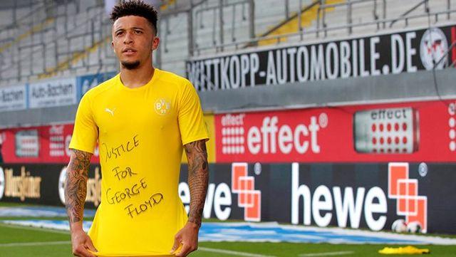 Bundesliga tarihine geçen Jadon Sancho, attığı gol sonrası George Floyd'u andı
