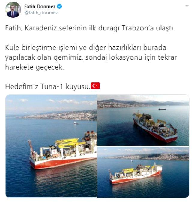 Fatih Sondaj Gemisi, Karadeniz'deki ilk durağı olan Trabzon'a ulaştı
