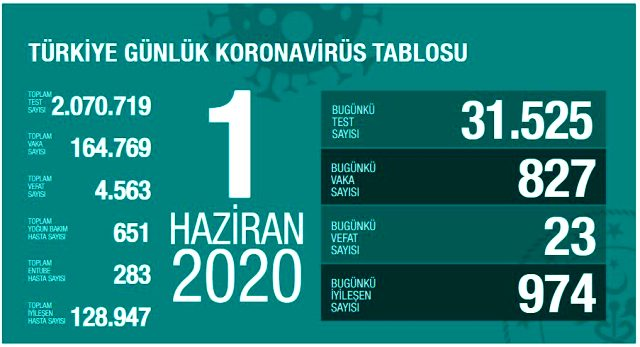 Son Dakika: Türkiye'de 1 Haziran günü koronavirüsten ölenlerin sayısı 23 oldu, 827 yeni vaka tespit edildi