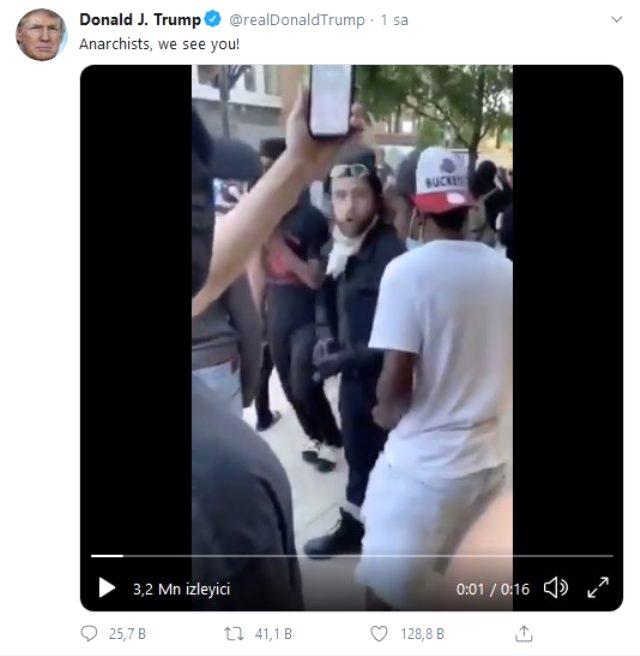 Trump'tan protestolarla ilgili tehdit gibi paylaşım: Anarşist, seni görüyoruz