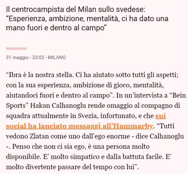 İtalyan basını, Hakan Çalhanoğlu'nun Ibrahimovic ile ilgili sözlerini manşete taşıdı
