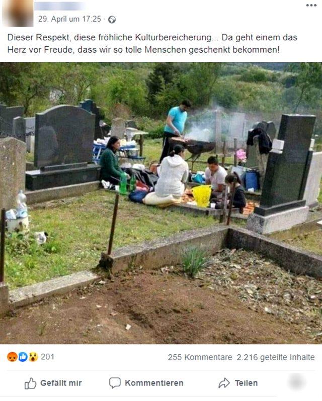 Mezarlıkta çekilen mangal fotoğrafıyla Almanya'da yaşayan Türkleri hedef gösterdiler