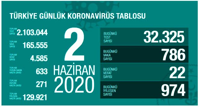 Son Dakika: Türkiye'de 2 Haziran günü koronavirüsten ölenlerin sayısı 23 oldu, vaka sayısı 800'ün altına düştü