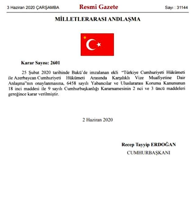 Türkiye ile Azerbaycan arasındaki vizeler karşılıklı olarak kaldırıldı