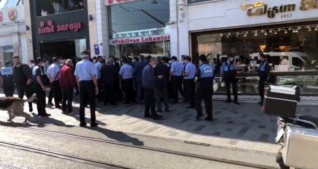 Maske stantları kaldırılan Beyoğlu Belediyesi ile kararı veren İBB'nin zabıta ekipleri birbirine girdi