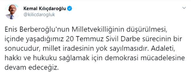 Son dakika: CHP'li Enis Berberoğlu, HDP'li Musa Farisoğulları ve HDP'li Leyla Güven'in milletvekillikleri düşürüldü