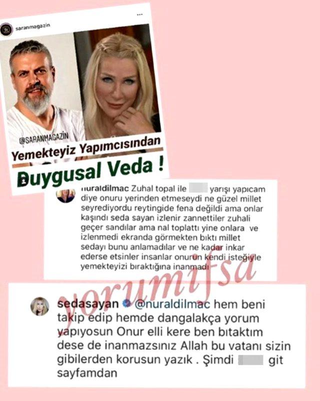 Yemekteyiz programını bırakan Seda Sayan, kendisini eleştiren takipçisine küfürle karşılık verdi