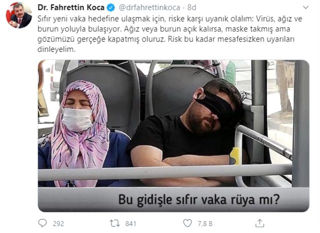 Sağlık Bakanı Koca'yı isyan ettiren kare: Maske takmış ama gözü gerçeğe kapatmış