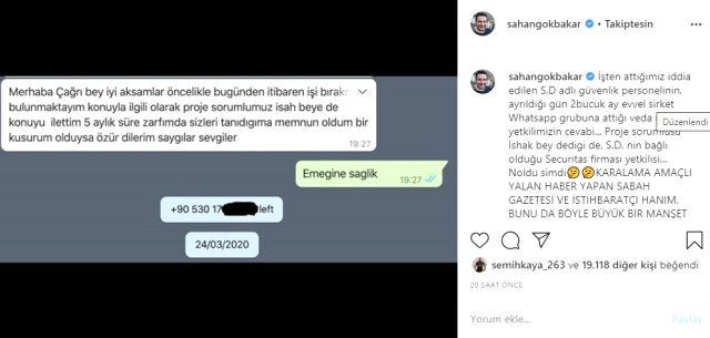 Şahan Gökbakar, koronavirüs kaptığı gerekçesiyle işten kovduğu ileri sürülen güvenlik personelinin attığı veda mesajını paylaştı