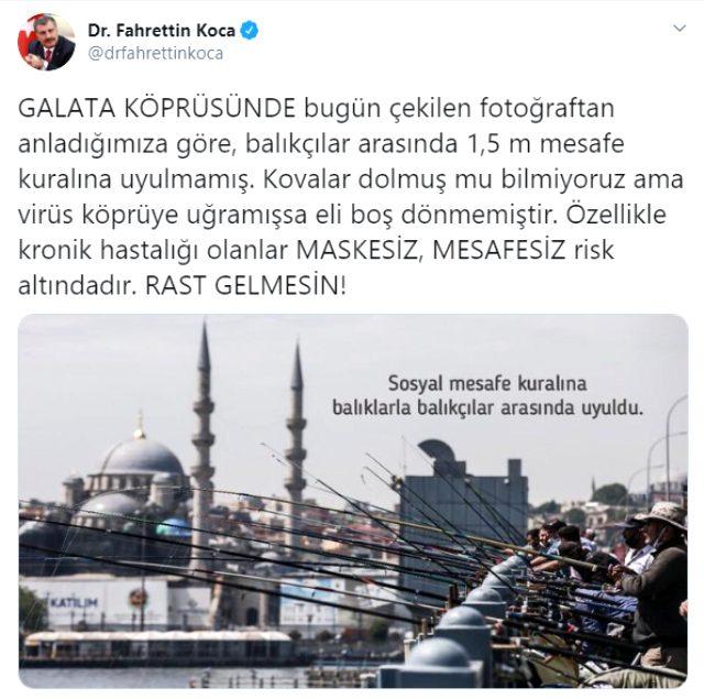 Bakan Koca, Galata Köprüsü'nde balık tutan vatandaşlara isyan etti: Rast gelmesin