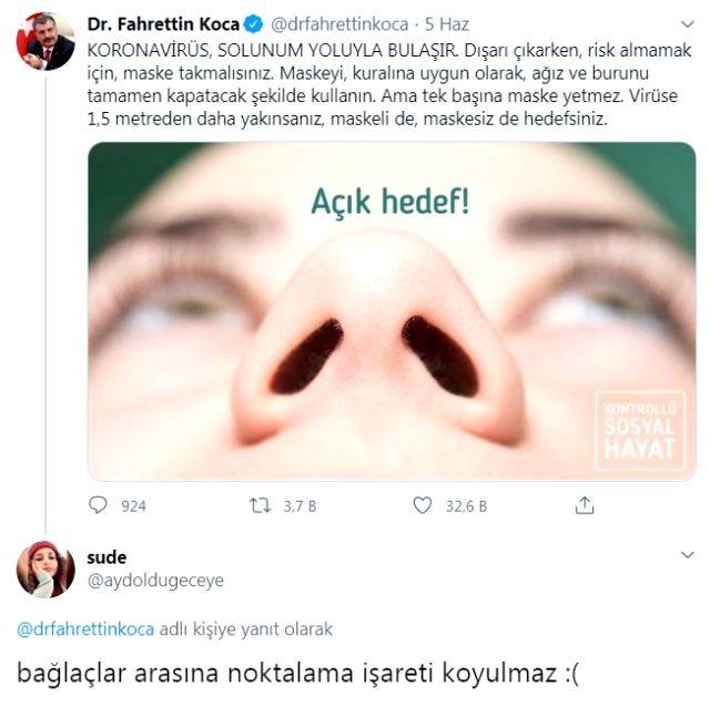 Hatalı tweet atan Koca, takipçisinin uyarısına verdiği yanıtla kahkahalara boğdu