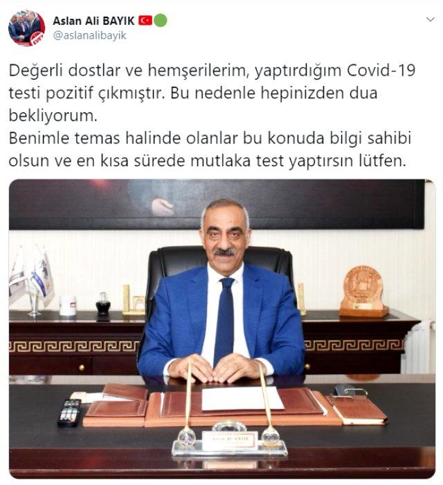 İlçe belediye başkanının koronavirüs testi pozitif çıktı