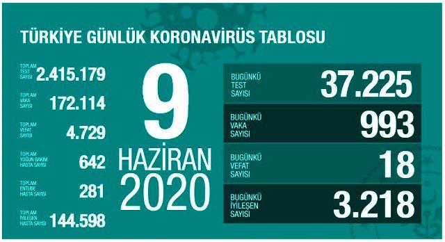 Son Dakika: Türkiye'de 9 Haziran günü koronavirüs nedeniyle 18 kişi hayatını kaybetti, 993 yeni vaka tespit edildi