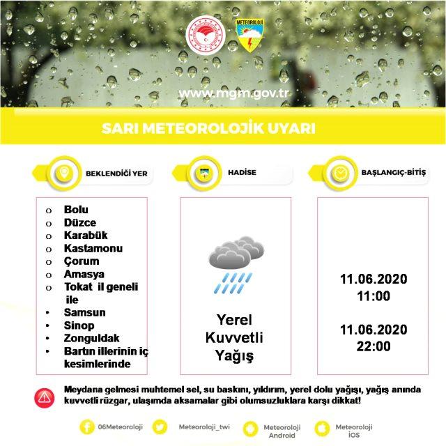 Meteoroloji, 20 il için kuvvetli yağış uyarısında bulundu. Sungurlu hava durumu
