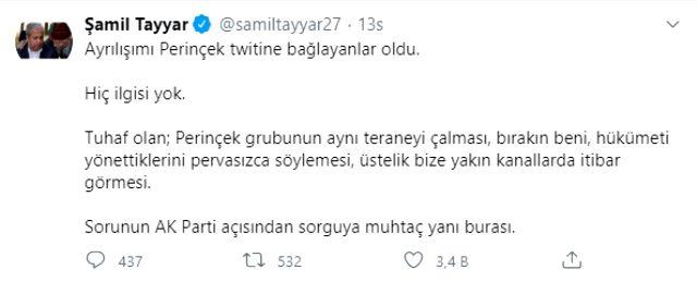 AK Parti'deki görevinden istifa eden Şamil Tayyar, suskunluğunu bozdu