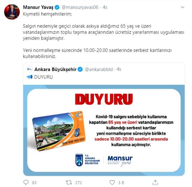 Ankara'da 65 yaş üstünün ücretsiz ulaşım kartları hizmete açıldı