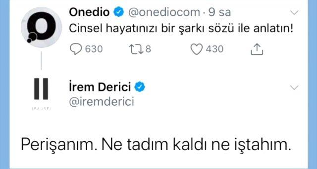 İrem Derici, şarkı sözüyle cinsel hayatını anlattı: Perişanım