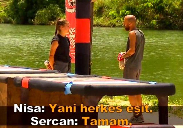 Survivor'da Nisa, Sercan'ın aynı takımda olma isteğini 'Yapamam' diyerek reddetti