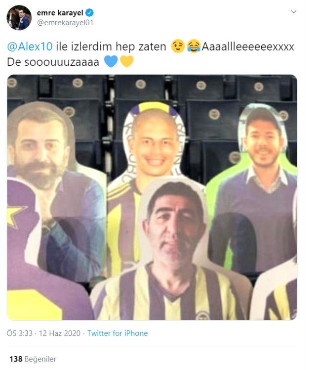 Fenerbahçe-Kayserispor maçında Alex, karton taraftar şeklinde tribünde olacak