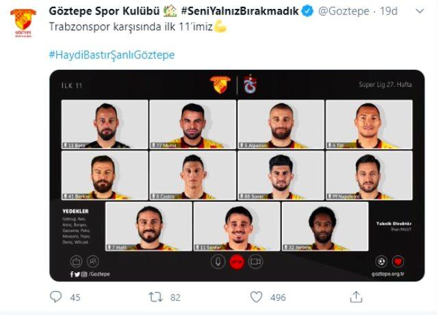 Göztepe, Trabzonspor maçının ilk 11'ini 'Çevrimiçi toplantı' programı görseliyle duyurdu