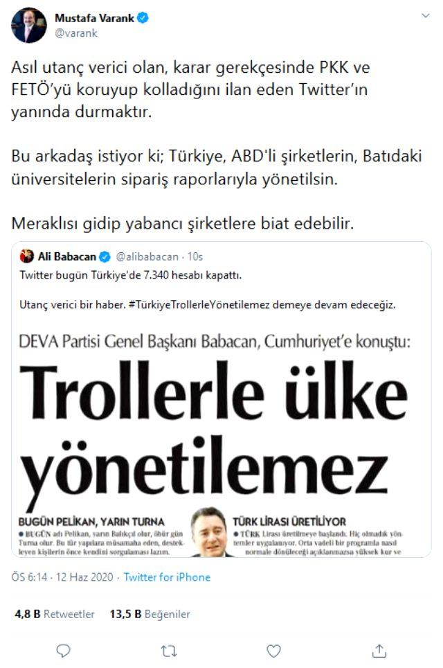 Ali Babacan Twitter'ın bazı hesapları kapatmasına 'Utanç verici' dedi, Bakan Varank sert çıktı