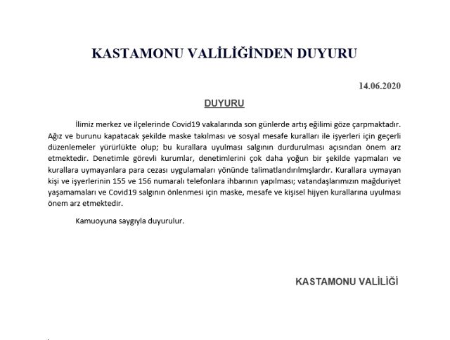 Kastamonu'da koronavirüs vakaları artınca Valilik'ten uyarı geldi
