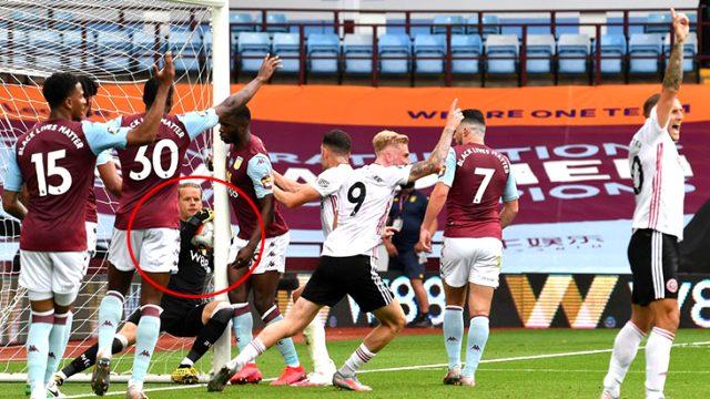 Aston Villa-Sheffield United maçında atılan gol, teknoloji devreye girmeyince fark edilmedi