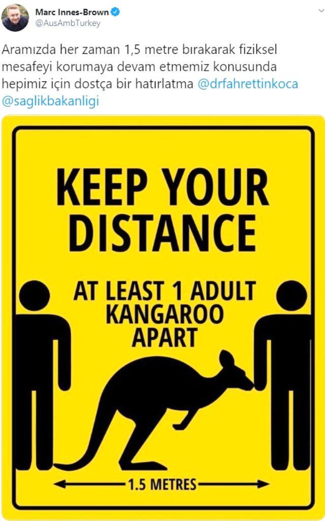 Avustralya'nın Ankara Büyükelçisi'nden Bakan Koca'ya kangurulu sosyal mesafe uyarısı