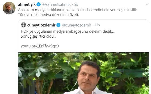 Twitter'da tartışan Cüneyt Özdemir ve Ahmet Şık, birbirlerine küfre varan hakaretler savurdu
