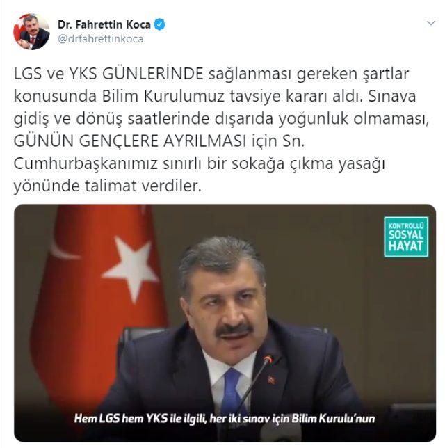 Son Dakika: Cumhurbaşkanı Erdoğan, LGS ve YKS günlerinde sokağa çıkma kısıtlaması talimatı verdi