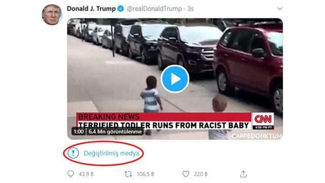 Twitter, Trump'ın videolu paylaşımına 'manipüle edilmiş medya' etiketi ekledi