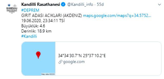 Muğla'nın Datça ilçesi açıklarında 4,5 büyüklüğünde deprem meydana geldi
