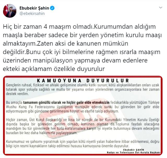 RTÜK Başkanı Ebubekir Şahin, çeşitli kurumlardan 4 maaş aldığı iddialarına açıklık getirdi