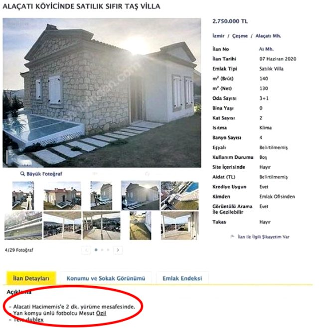 3 milyon TL istenen taş evin ilanında Mesut Özil detayı dikkat çekti