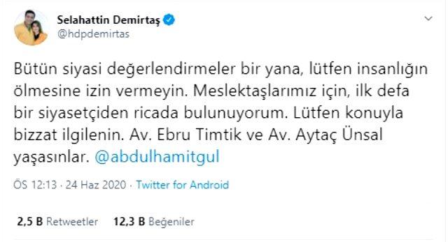 Demirtaş, Adalet Bakanı Gül'e çağrıda bulundu: İlk defa bir siyasetçiden ricada bulunuyorum