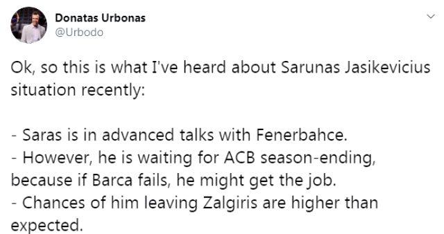 Fenerbahçe Beko, Zeljko Obradovic'in yerine Sarunas Jasikevicius ile görüşmelere başladı