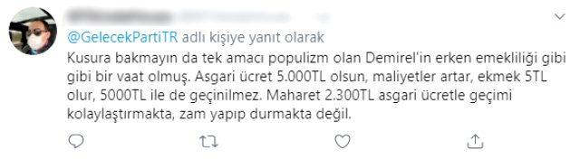 Gelecek Partisi'nin asgari ücret paylaşımı sosyal medyada yorum bombardımanına tutuldu