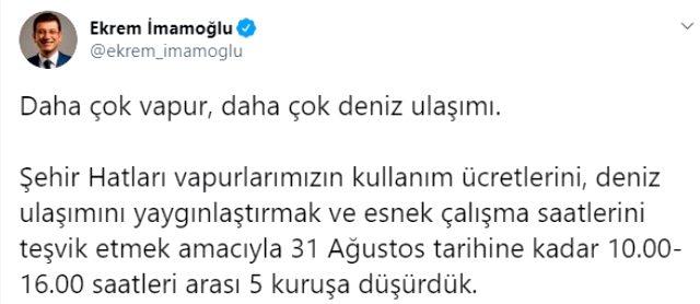Son Dakika: İstanbul'da şehir hatları vapurları 10.00-16.00 saatleri arasında 5 kuruş olacak