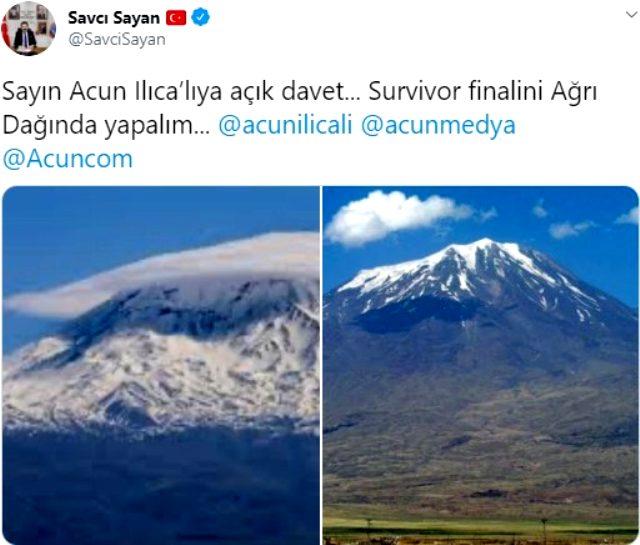 Savcı Sayan'dan Acun Ilıcalı'ya davet: Survivor finalini Ağrı Dağı'nda yapalım