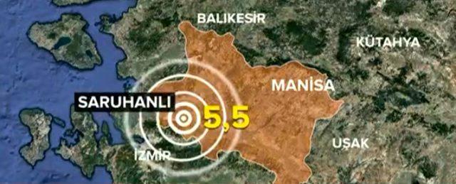 Son dakika: Manisa'nın Saruhanlı ilçesinde 5.5 büyüklüğünde bir deprem meydana geldi