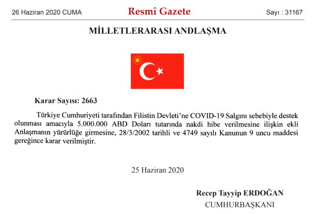 Türkiye, koronavirüse karşı Filistin'e 5 milyon dolar hibe edecek