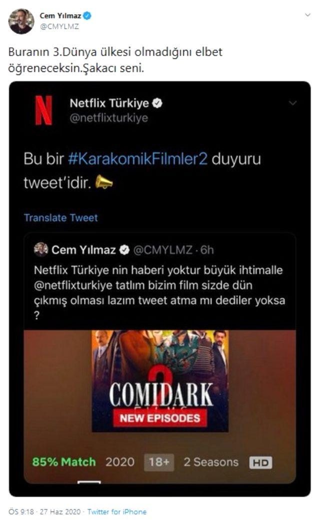 Cem Yılmaz'dan kendi filminin duyurusunu yapmayan Netflix'e tepki: Tweet atma mı dediler