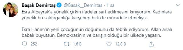 Başak Demirtaş'tan Esra Albayrak'a destek mesajı: Kadınlara yönelik saldırganlığa karşı birlikte mücadele etmeliyiz