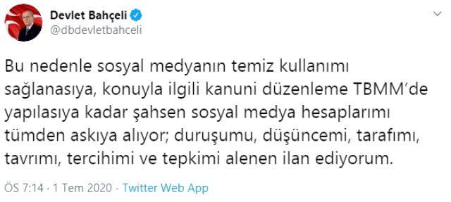 MHP lideri Devlet Bahçeli, sosyal medya hesaplarını askıya aldı
