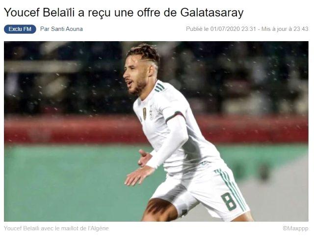 Fransız basını, G.Saray'ın Youcef Belaili'ye teklif yaptığını yazdı