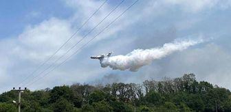 Havai fişek fabrikasındaki yangına yerden müdahale yetmedi, yangın söndürme uçağı devreye girdi