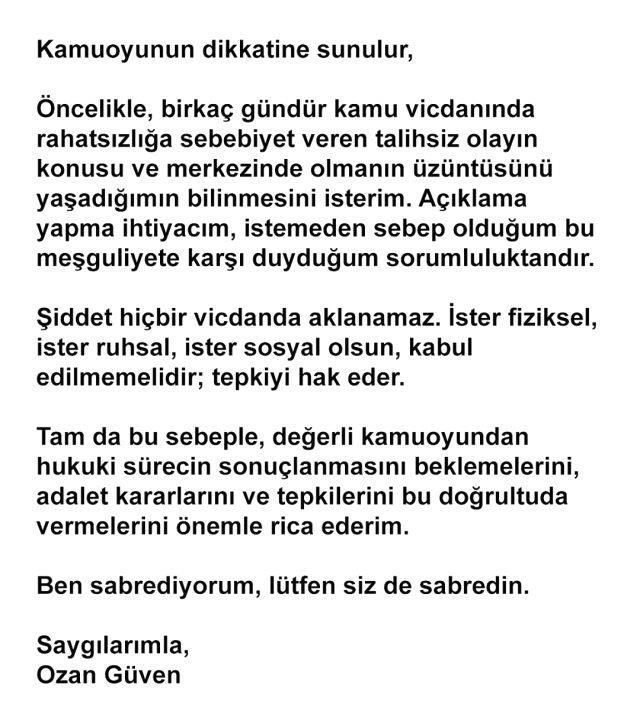 Sevgilisini darp ettiği öne sürülen Ozan Güven'den yeni açıklama: Ben sabrediyorum, lütfen siz de sabredin