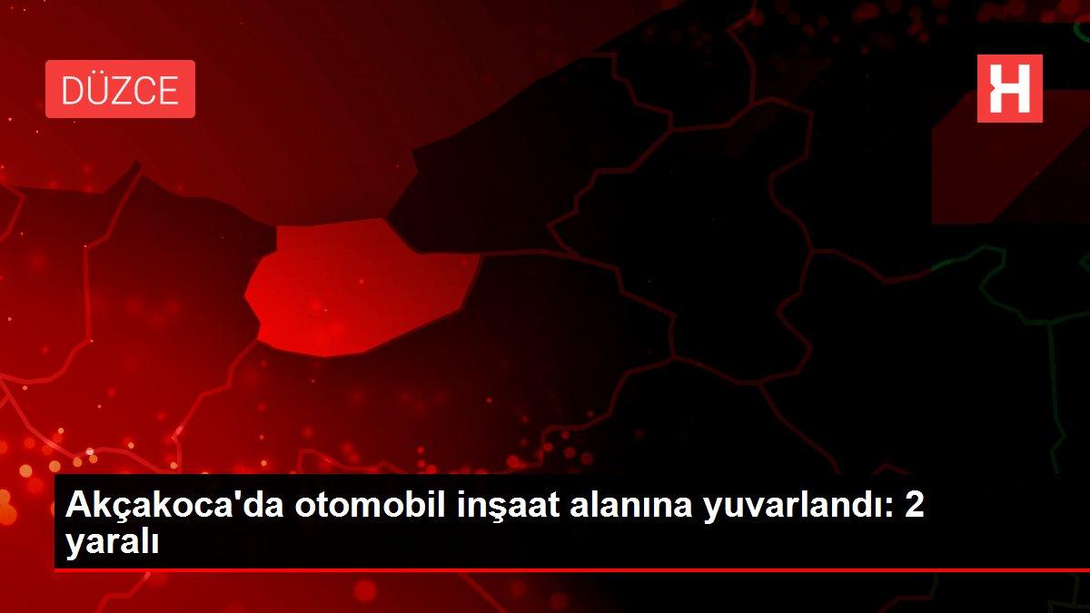 Akçakoca'da otomobil inşaat alanına yuvarlandı: 2 yaralı